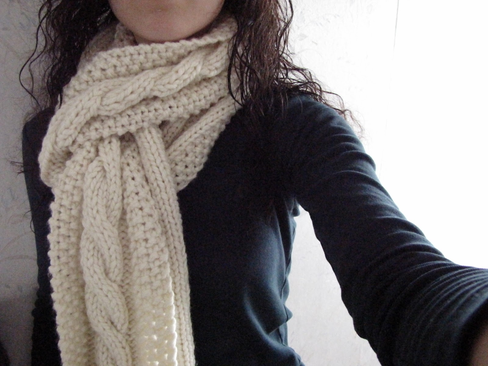 Free Knitting Pattern Chunky Cable Scarf : Cozy Wooly Cabled Scarf