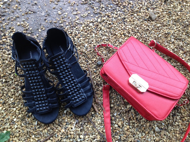 HM Sandals and Primark Red Bag