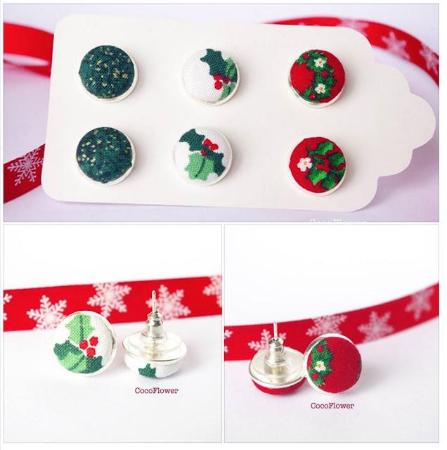 Puces d'oreilles en tissu Noël - www.chezviolette.net