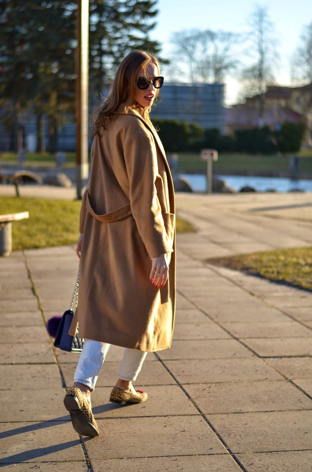 camel coat lepard loafers kristjaana mere