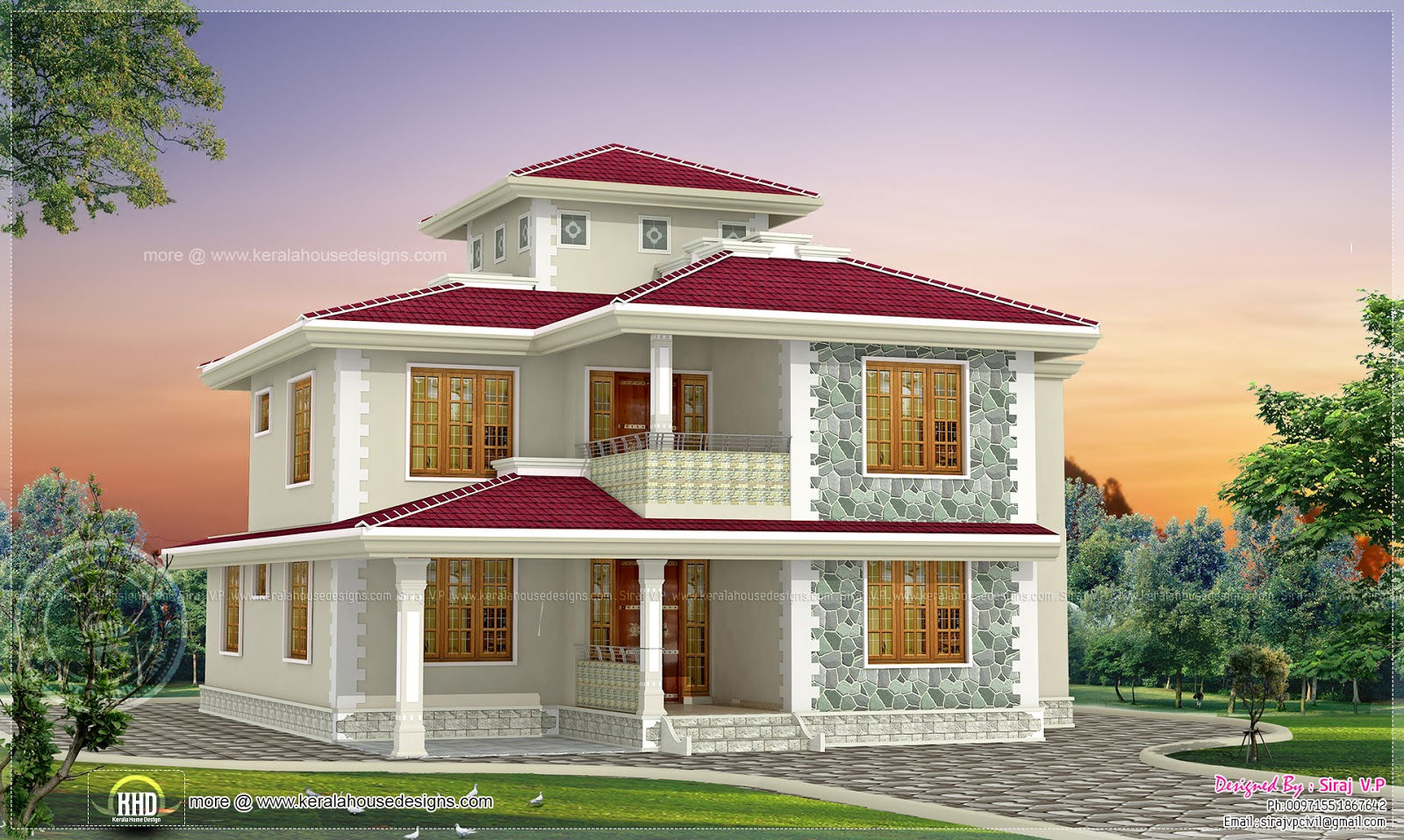 4 bhk kerala style home design indian house plans for Home plans india
