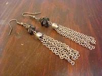 Stone and Metal Chain Earrings by hotGlued