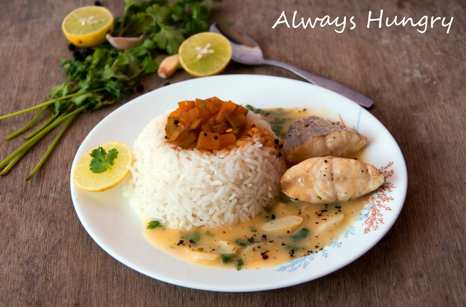 Always hungry fish in garlic lemon butter sauce for Garlic sauce for fish
