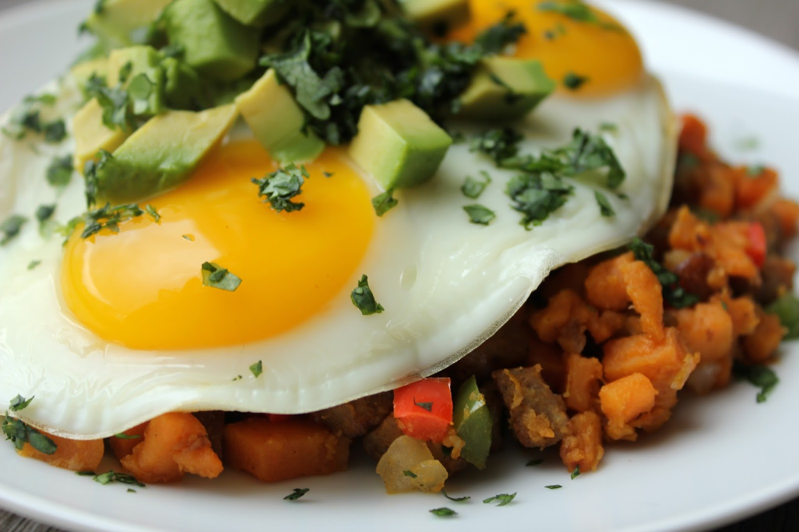 Sweet Potato Hash with Chicken Sausage and Fried Eggs