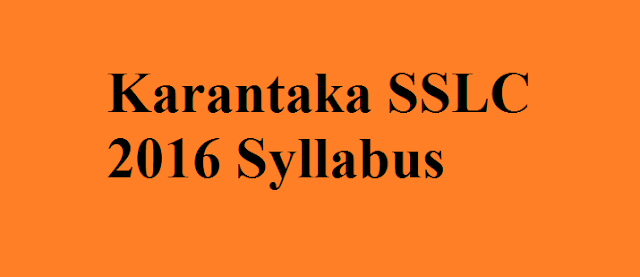 Karantaka SSLC 2016 Syllabus