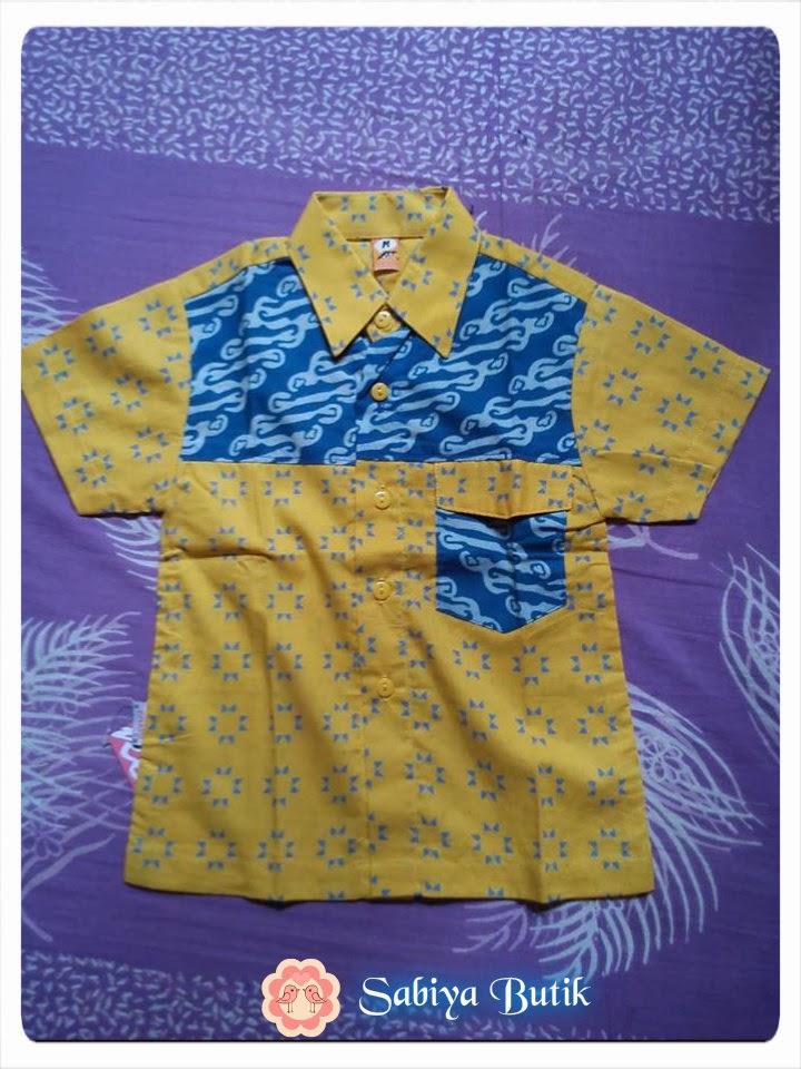 Sabiya Butik  1304 Kemeja Batik Anak Kuning Biru