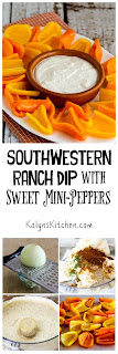 Southwestern Ranch Dip with Sweet Mini-Pepper Scoops found on KalynsKitchen.com