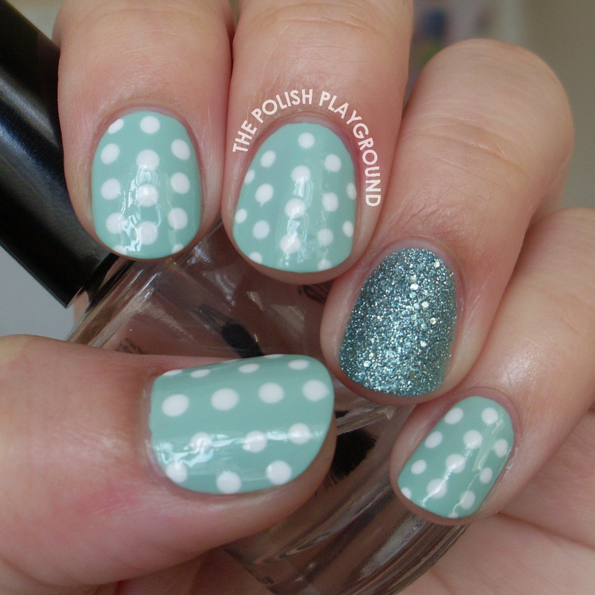 Mint and White Polka Dots Nail Art