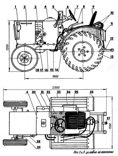 Трактор из мотоблока ока чертежи