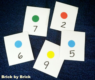 DIY Board Game number cards (Brick by Brick)