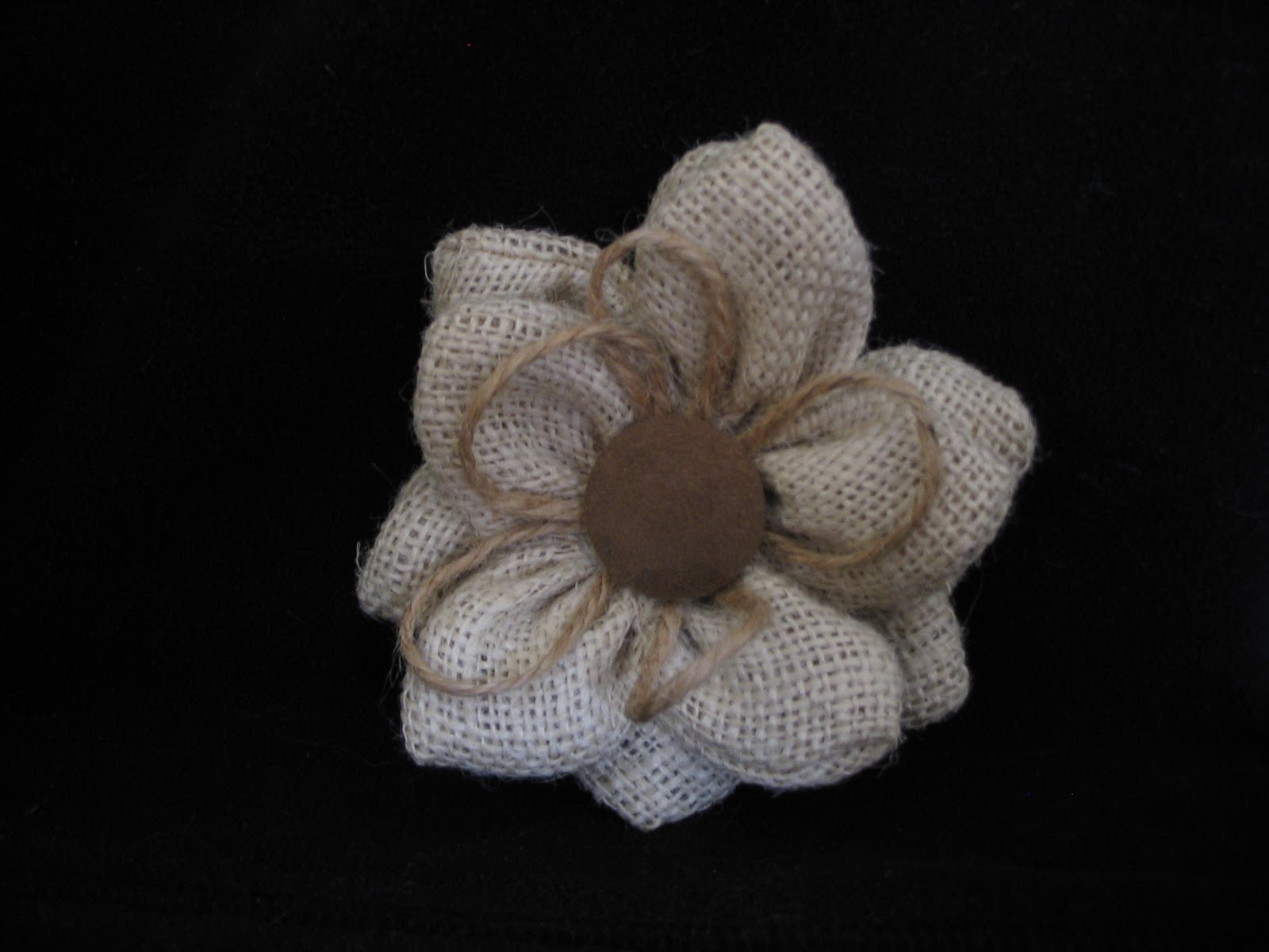 Details by Kari Burlap Flower Pins