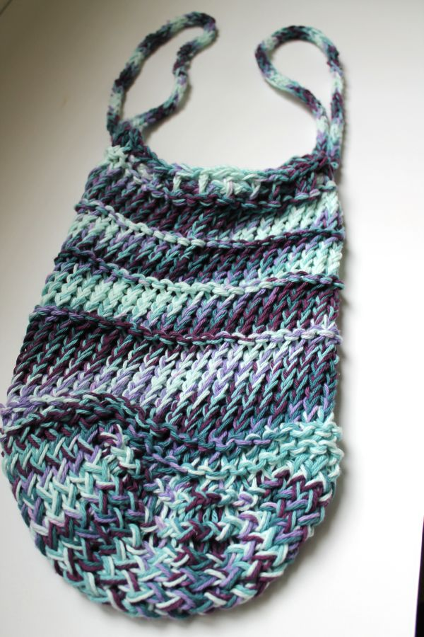 Knitting Pattern Mesh Bag : SparkleKnit: Loom Knit Mesh Market Bag