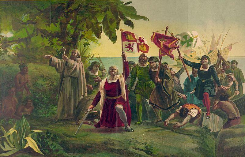 Llegada de Cristóbal Colón a América. Primer desembarco de Cristóbal Colón en América, por Dióscoro Puebla.1862