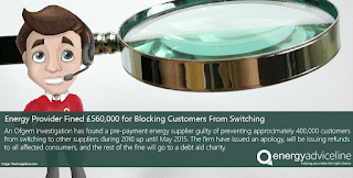 Energy provider fined £560,000 for blocking customer switches