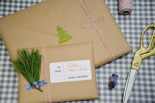 envelope wrapped gift with note paper tag and diy washi tape decal | Ramblingrenovators.ca