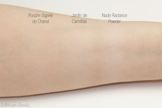 Chanel Jardin de Camelias Illuminating Face Powder swatch comparison Spring 2014 Asia Exclusive in studio lighting