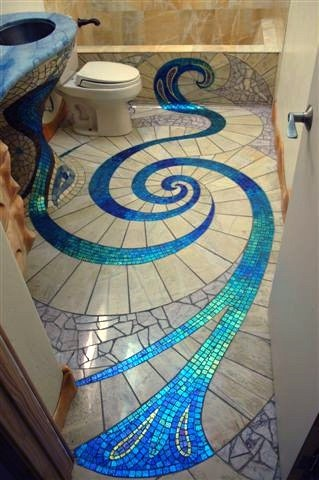 Blue spiral design for your bath room
