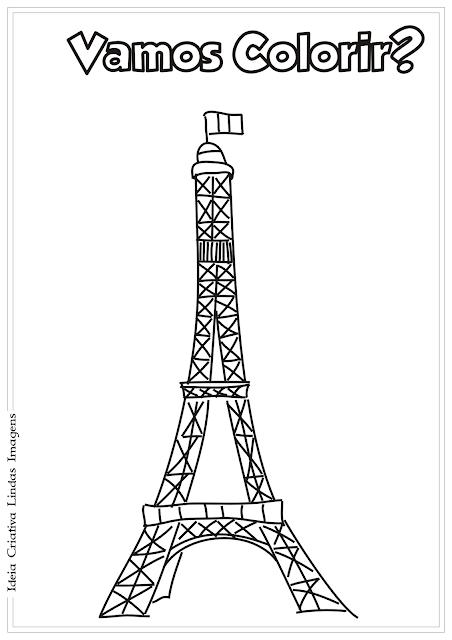 Torre Eiffel desenho para colorir