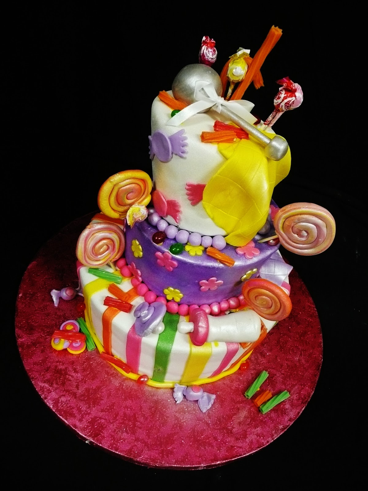 Candy themed baby shower cake