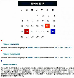 FERIADOS DE JUNIO 2017
