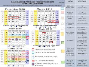 SEGUNDO SEMESTRE DE 2018 -CALENDÁRIO ARQUITETUTRA E URBANISMO - AVALIAÇÕES E PROGRAMAÇÃO