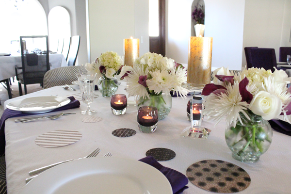 purple black and white bridal shower