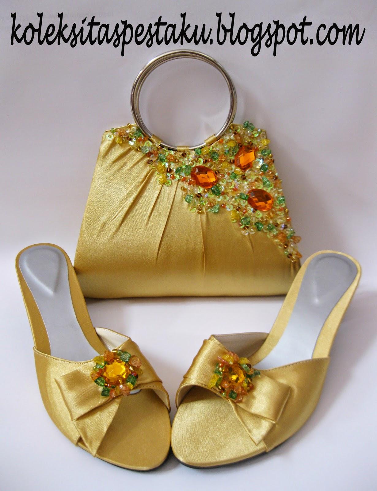 Tas Gold Mewah dengan Sandal Sepatu Payet Satin