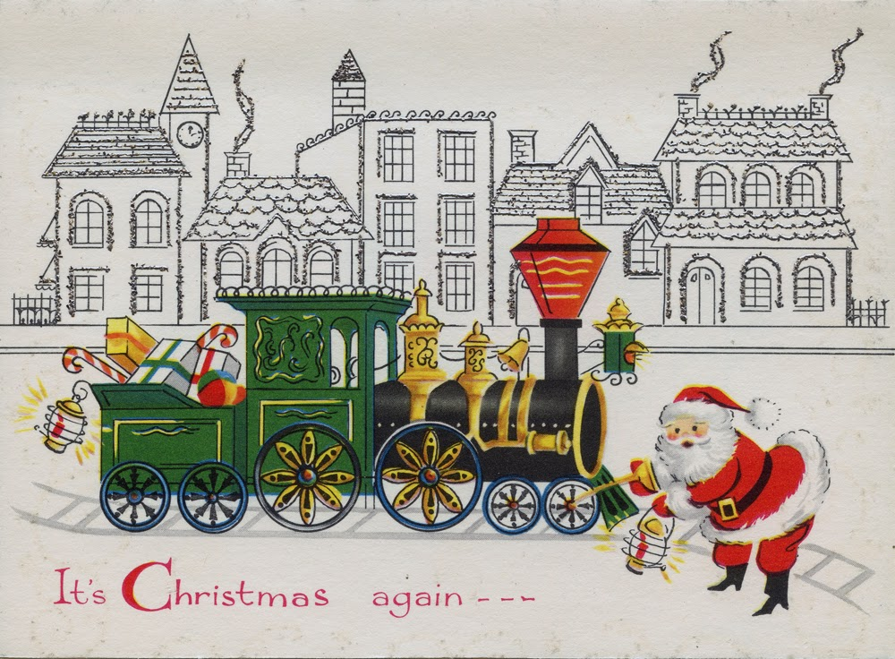 Neato Coolville: VINTAGE CHRISTMAS CARD: CHOO CHOO CLAUS