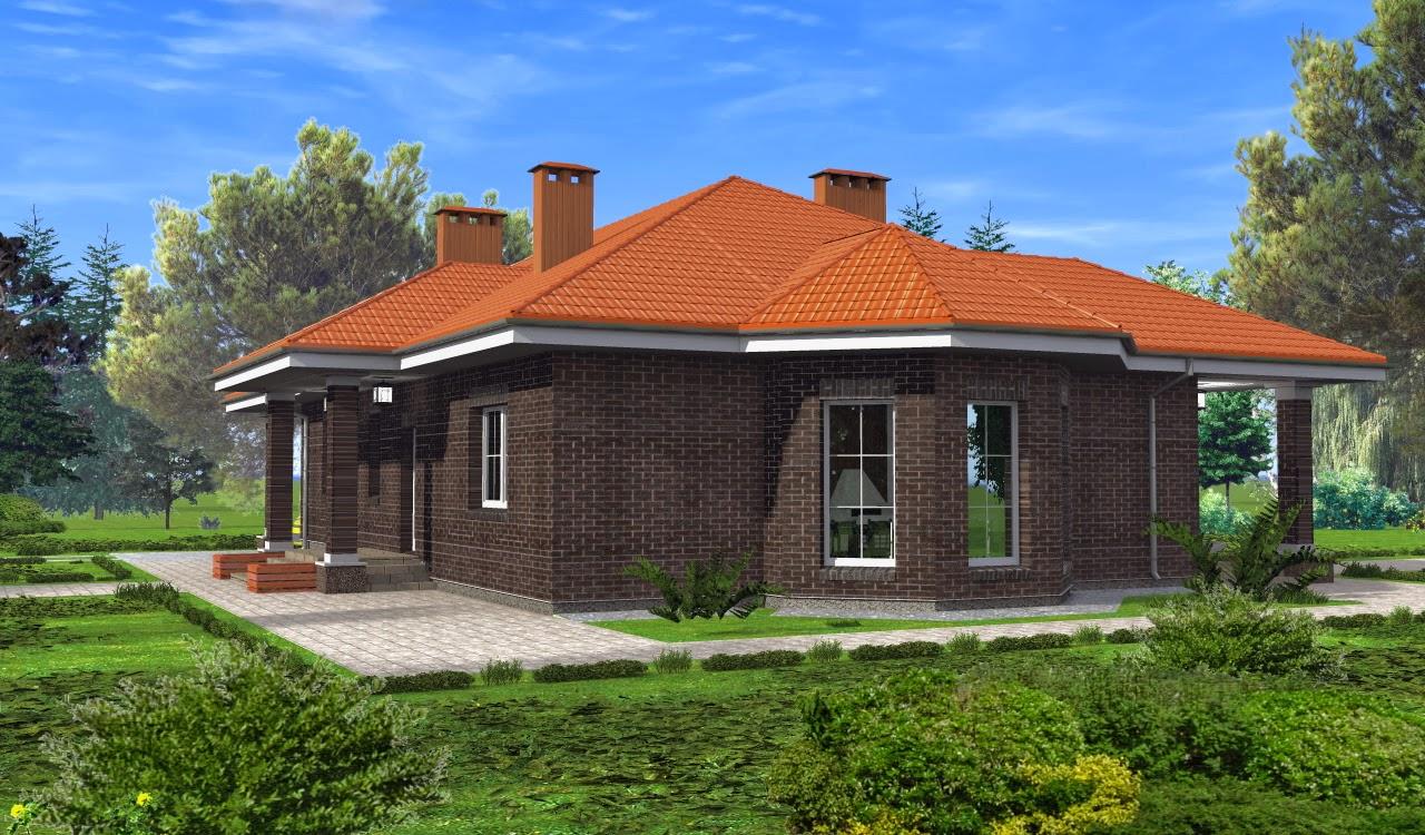 52Проекты коттедж одноэтажные дома с гаражом