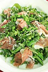 Pea & Prosciutto Salad w/ Lemon Vinaigrette & Shaved Horseradish