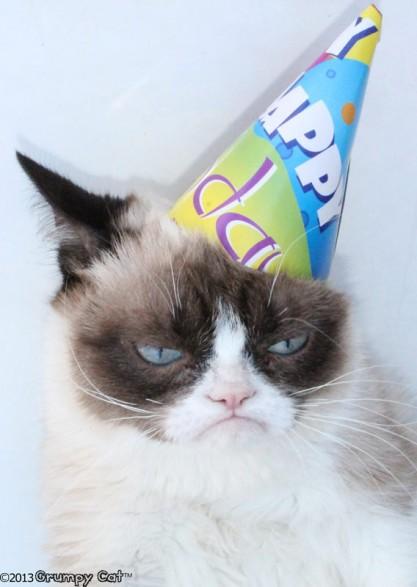 Grumpy Cat With Birthday Hat