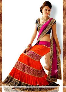 Hot Orange And Pink Sari Designs / Orange Chanderi Cotton Suits