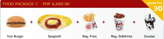 Food package C for Jollibee party