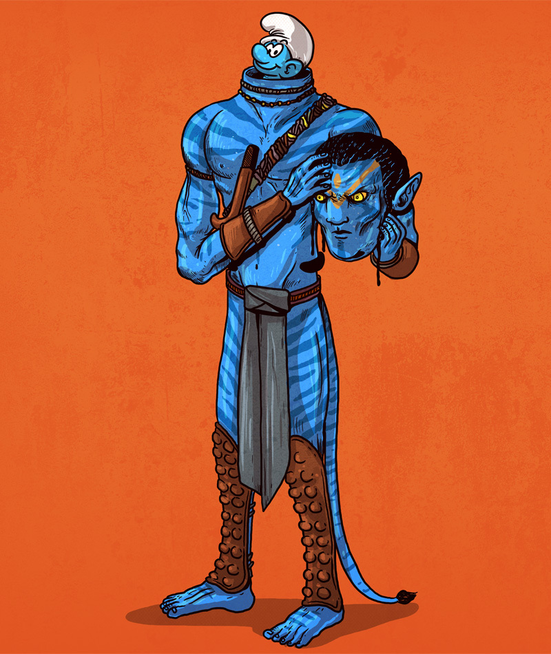 02-Avatar-and-the-Smurfs-Alex-Solis-Illustrations-of-Icons-Unmasked-www-designstack-co