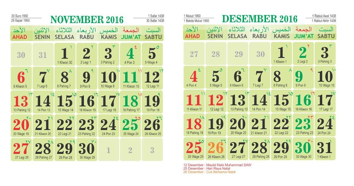 Kalender 2016 Lengkap Jawa dan Islam - Percetakan Beta