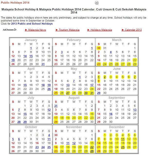 Malaysia+Public+Holidays+&+School+Holidays+2014+-+One+Stop+Malaysia