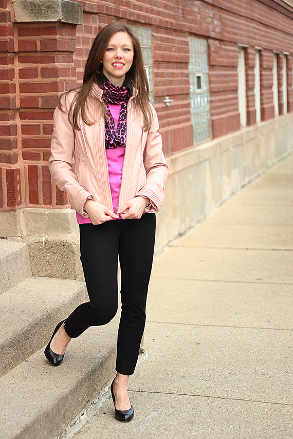 StyleSidebar - light pink leather, hot pink leopard scarf
