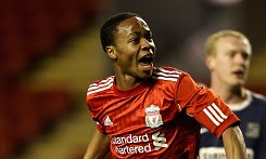 Raheem Sterling celebrates scoring for Liverppol in an FA Youth Cup tie against Southend United in February 2011, a year after his move from Queens Park Rangers.