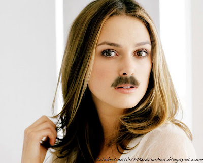 Keira Knightley with a Mustache