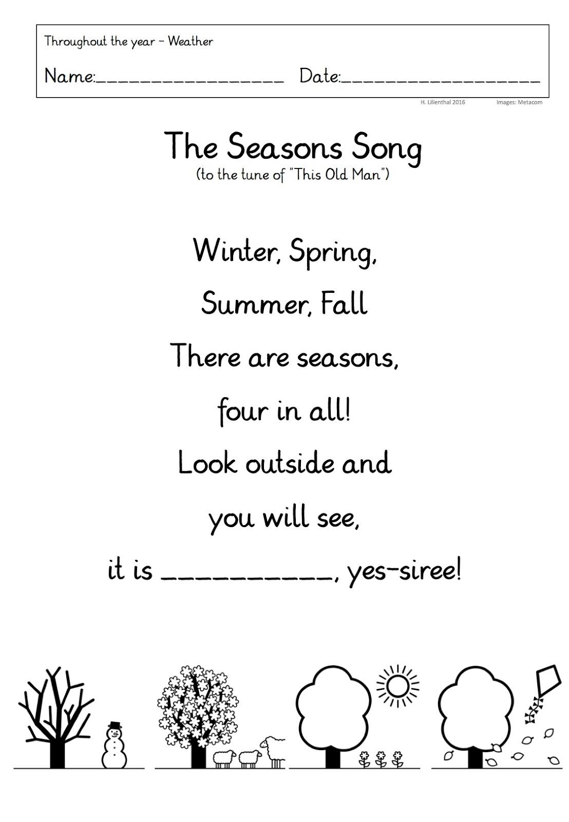 Throughout the year – Jahreszeiten usw. in einer Englisch-immersiven ...