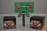 I made the Minecraft Steve heads using paper, glue, and card board boxes.