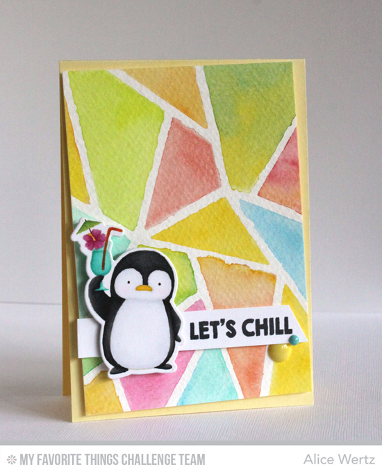 Abstract Penguin Card by Alice Wertz featuring the Birdie Brown Penquins in Paradise stamp set and Die-namics and the Abstract Cover-Up Die-namics #mftstamps