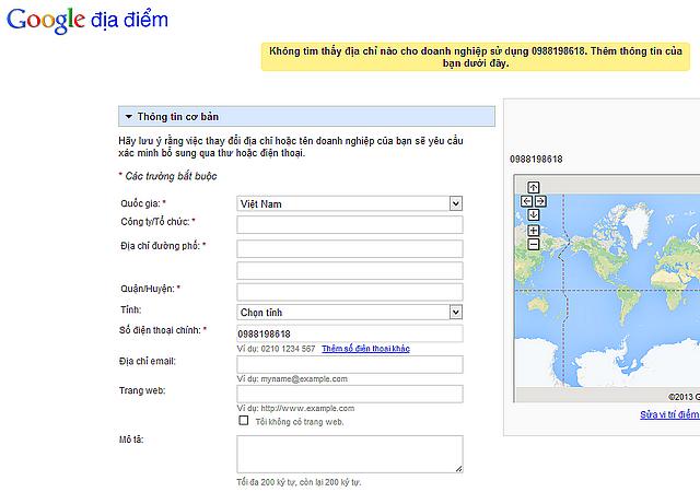 tao dia diem google map