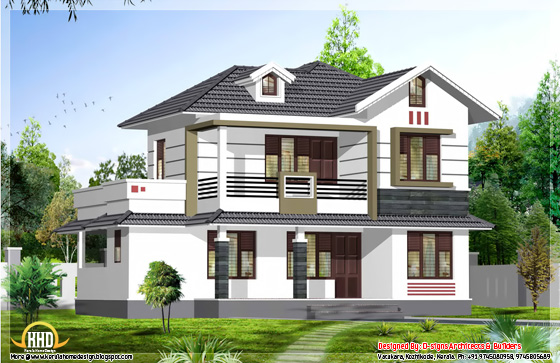 1950 Square feet 4 BHK stylish Kerala house design