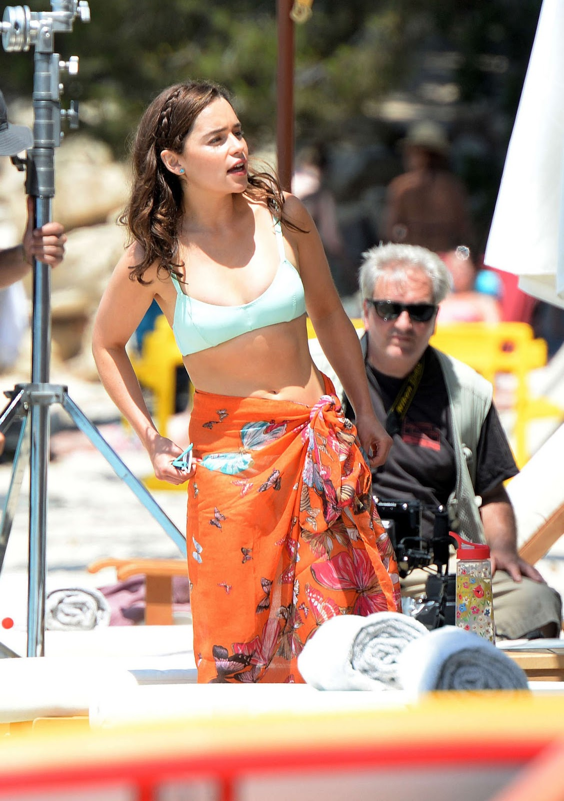 Emilia Clarke in a blue bikini on the set of 'Me Before You' in Spain