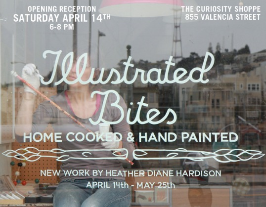 heather diane hardison of illustrated bites, painting on a glass window