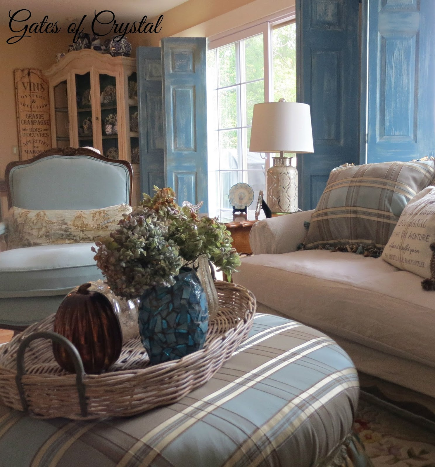 I Knew That Wasnt Satisfied With The Slipcover Had Made For Round Ottoman In This Room And Thought Faux Silk Plaid Would Be Perfect To