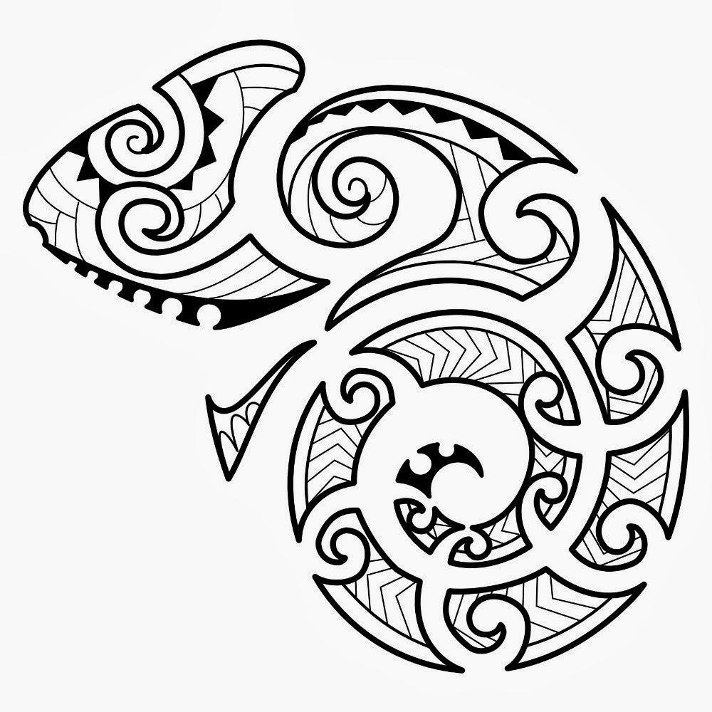 Tribal hameleon Samoan design shoulder tattoo stencil