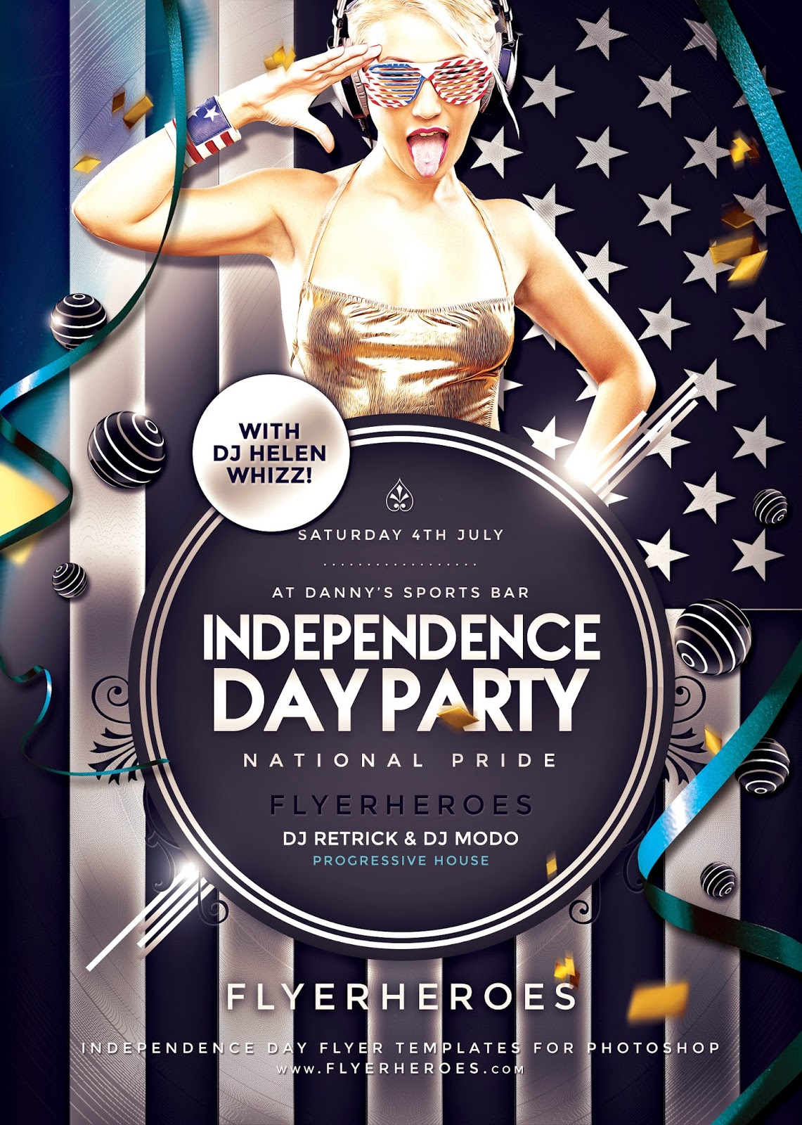 CreativeMarket - Independence Day Party Flyer | Free Stock