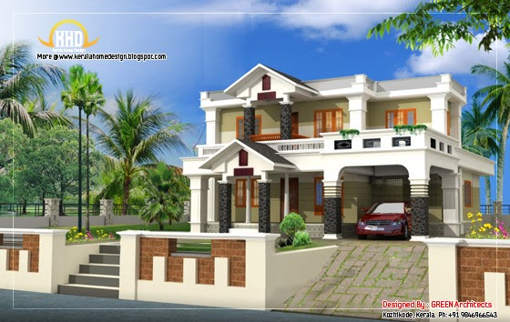 Beautiful house elevation design 2400 sq ft home for 2400 sq ft house plans 3d